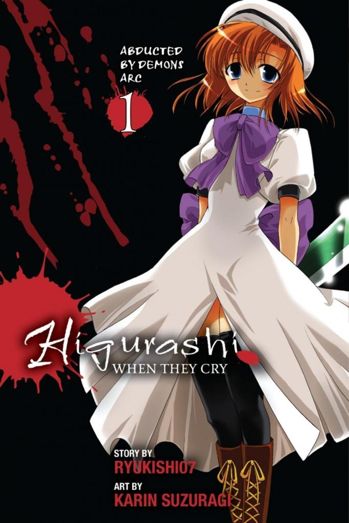 Higurashi no Naku Koro Ni, White Dress, Purple Ribbon, White Beret, Hatchet, Dark, Blood, Manga, Horror, Orange Hair